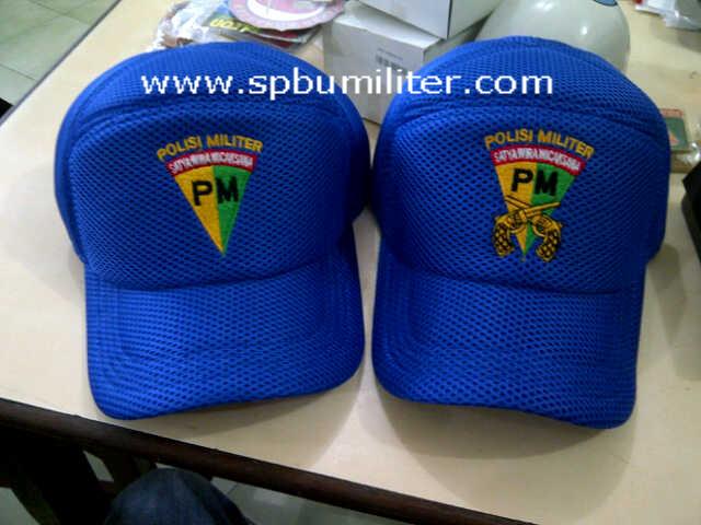 topi polisi militer jaring biru